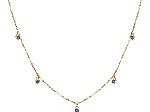 Five blue sapphires necklace 18k gold