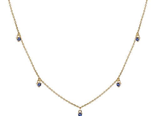 Five blue sapphires necklace 18k gold