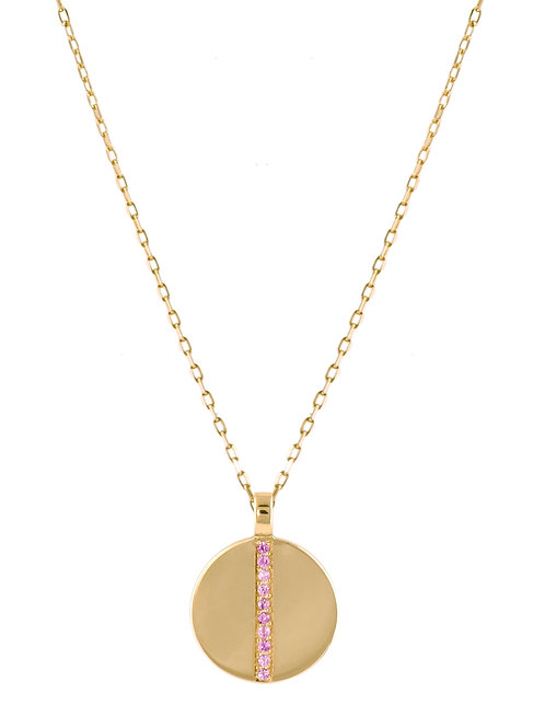 Pink sapphires Medaille 18k gold necklace