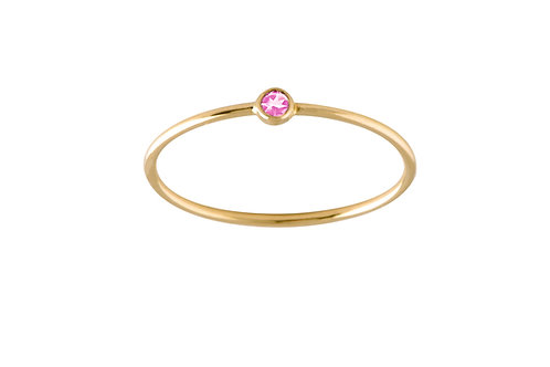 Solitaire pink sapphire ring 18k gold