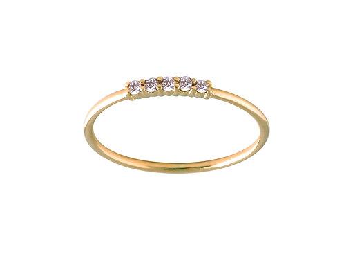Five diamonds ring S 18k gold