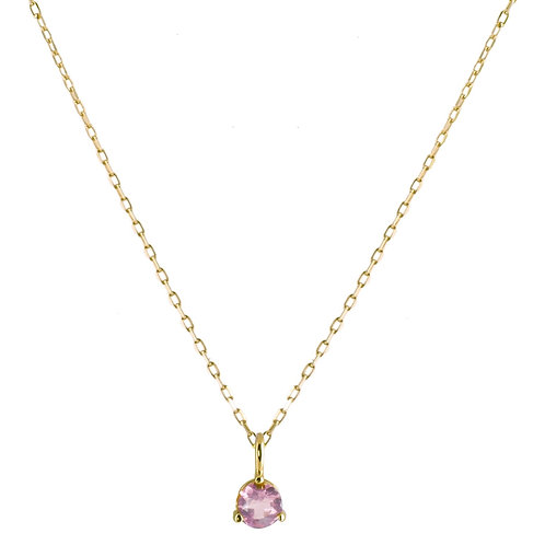 Pink sapphire Solitaire necklace 18k gold
