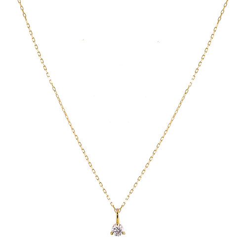 Diamond small Solitaire necklace 18k gold