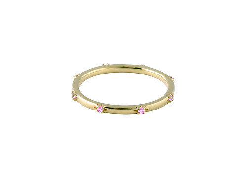 Stardust pink sapphires ring 1 gold plated 925 silver