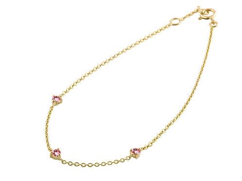 Pink sapphires 18k gold bracelet