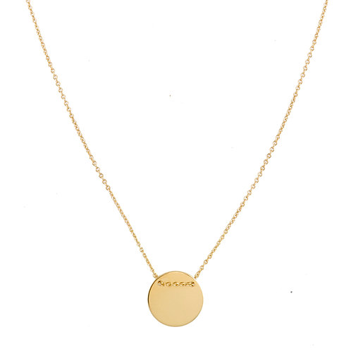 Round necklace L gold plated 925 silver- Collier Rond L argent doré