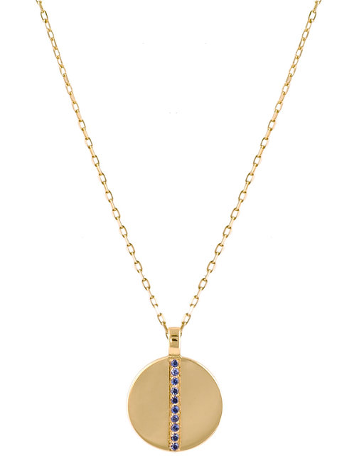 Blue sapphires Medaille 18k gold necklace