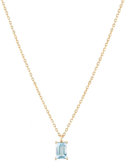 Baguette aquamarine necklace 18k gold