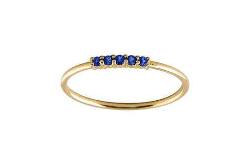 Five blue sapphires ring S 18k gold