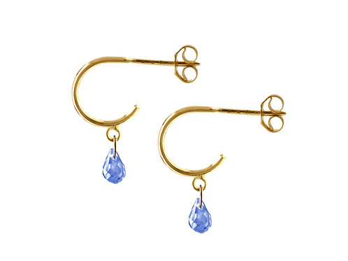 Briolette blue sapphires hoop earrings 18k gold