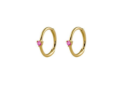 Pink sapphires small 18k gold huggies