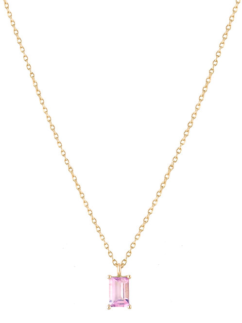 Baguette pink tourmaline necklace 18k gold