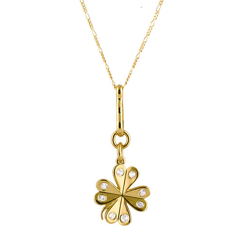 Clover necklace white topaz Gold plated 925 silver