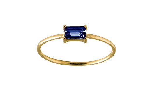 Baguette blue sapphire ring L 18k gold