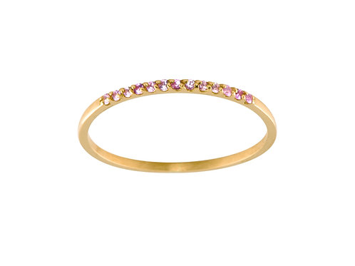 Pink sapphires Pavé 18k gold ring