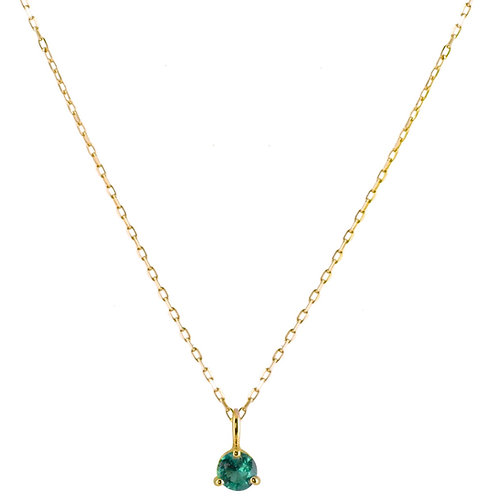 Emerald Solitaire necklace 18k gold