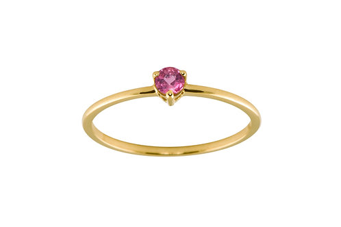 Pink sapphire medium Solitaire 18k gold ring