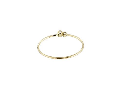 Solitaire  ring 2 diamonds 18kt gold - Bague 2  Solitaire diamants or 18ct