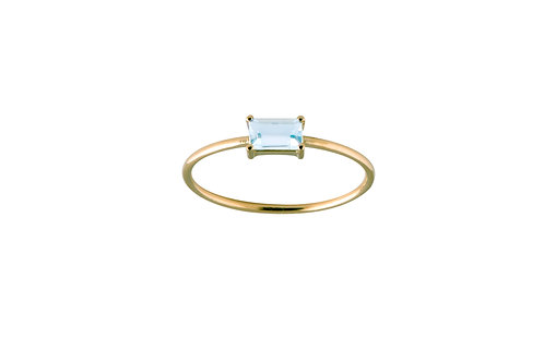 Baguette blue topaz ring L gold plated 925 silver