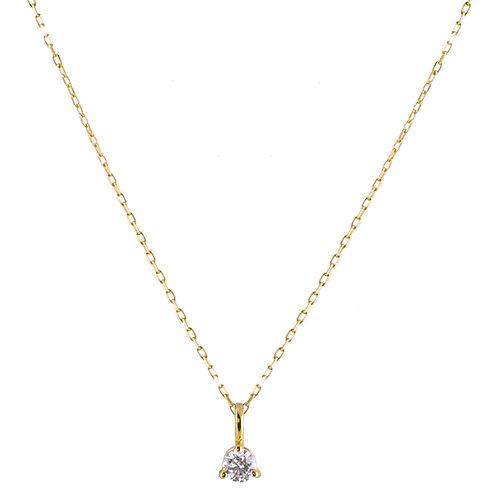 Diamond medium Solitaire necklace 18k gold