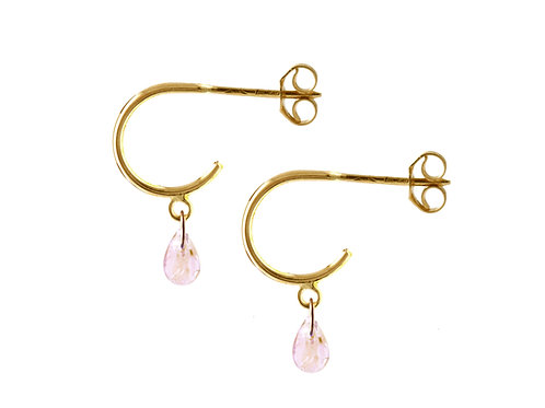 Briolette pink sapphires hoop earrings 18k gold