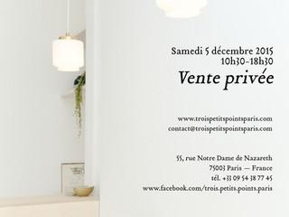 Private sales on saturday december, 5 at 55, rue Notre-dame de Nazareth, Paris, 3e