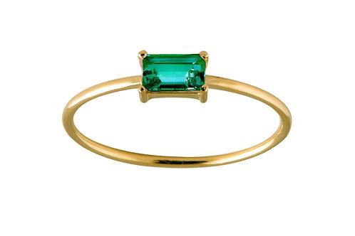Baguette emerald ring L 18k gold