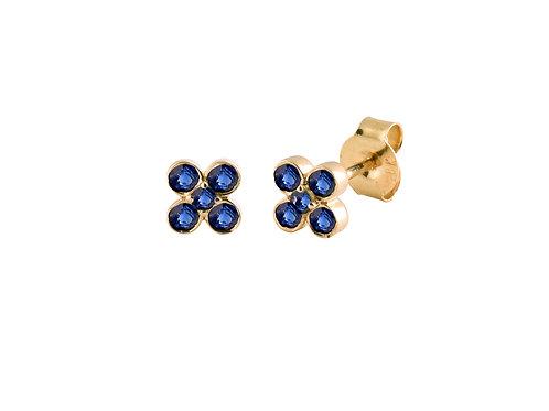 Blue sapphires As 18k gold earrings