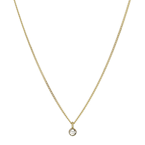 Solitaire necklace 2 diamond 18kt gold