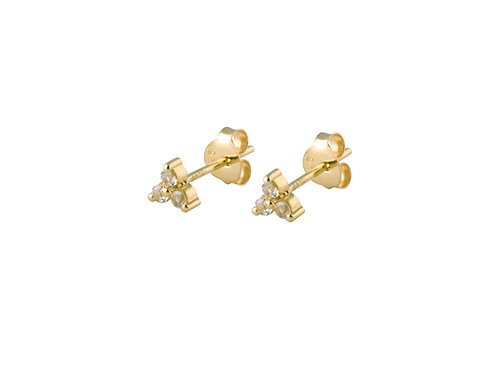 Leaf white topaz earrings gold plated 925 silver