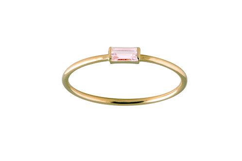 Baguette pink tourmaline ring S 18k gold