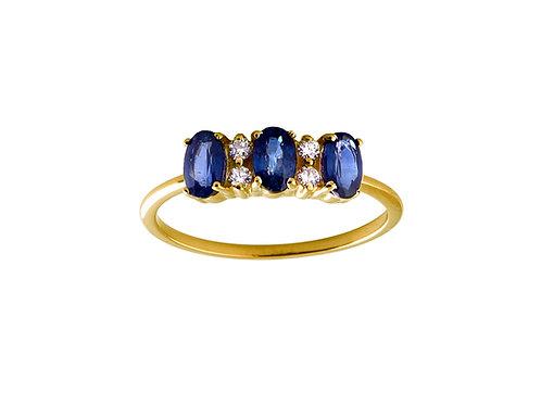 Blue sapphires & diamonds Lauré 18k gold ring