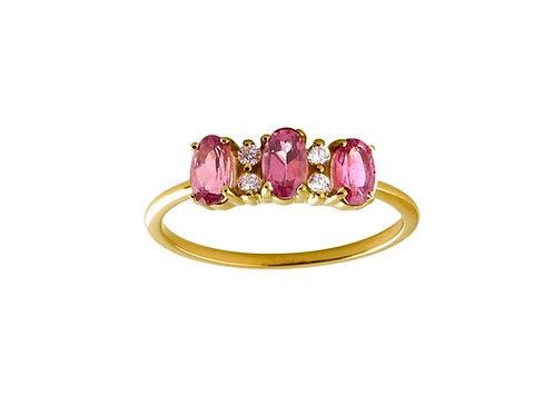 Pink sapphires & diamonds Lauré 18k gold ring
