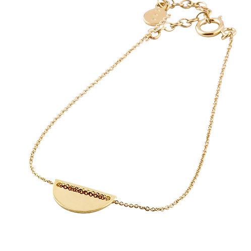 Moon bracelet golden brass