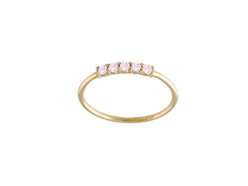 Five pink tourmalines ring 18kt gold