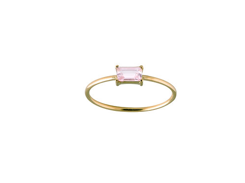 Baguette pink tourmaline silver ring L gold plated 925