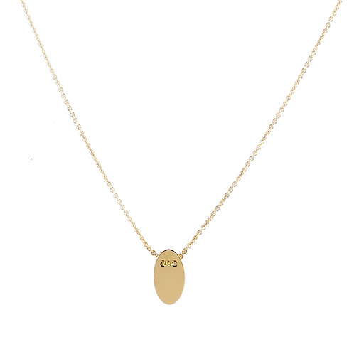 Oval necklace S golden brass