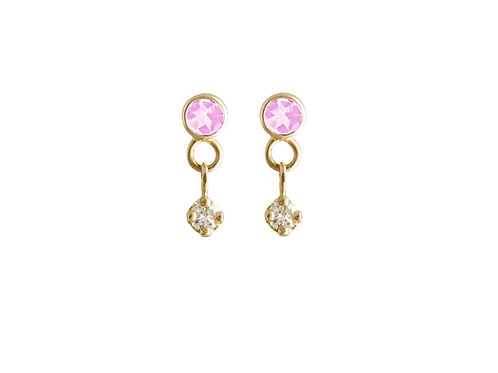 Constellation pink sapphires & diamonds earrings 18k gold