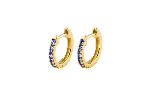 Blue sapphires Pleiad 18k gold huggies