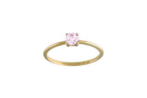 Only pink tourmaline ring golden brass