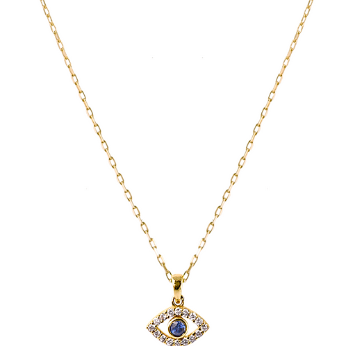 Blue eye necklace 18k gold