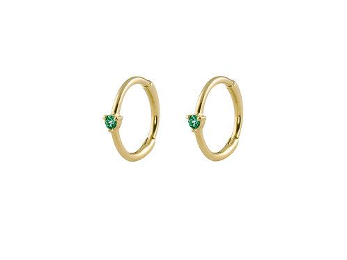 Emeralds small 18k gold huggies