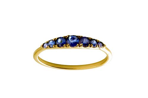 Blue sapphires Seven 18k gold ring