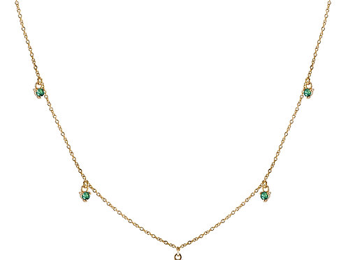 Five emeralds necklace 18k gold
