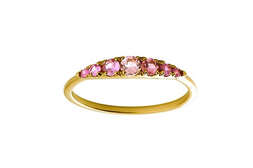Pink sapphires Seven 18k gold ring