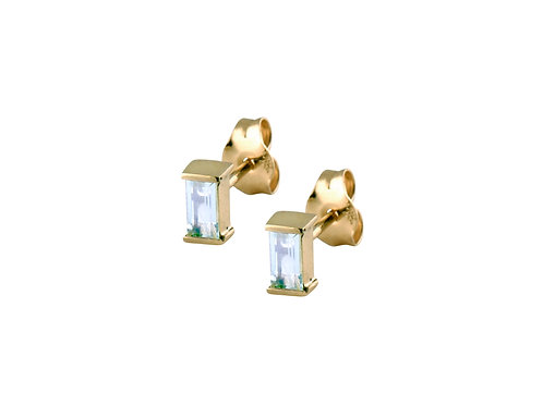 Baguette aquamarines earrings 18k gold
