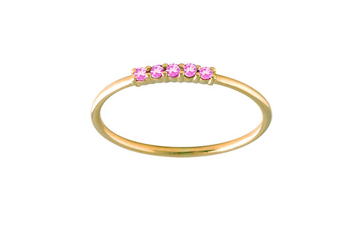 Five pink sapphires ring S 18k gold