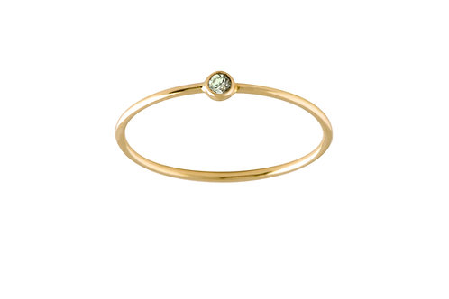 Solitaire green sapphire ring 18k gold