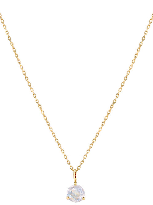 Moonstone Solitaire 18k gold necklace