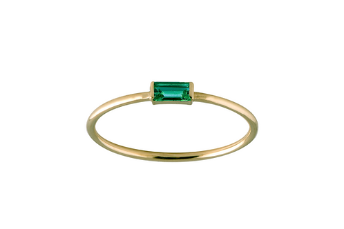 Baguette emerald ring S 18k gold